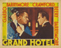 "Movie Posters:Drama, Grand Hotel (MGM, 1932). Lobby Card (11"" X 14""). A dynamic closeupof Wallace Beery and John Barrymore. Card has pinholes in..."