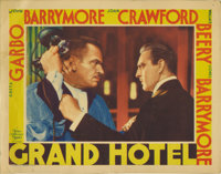 """Grand Hotel (MGM, 1932). Lobby Card (11"""" X 14""""). A dynamic closeup of Wallace Beery and John Barrymore. Card h..."""