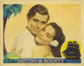 "Movie Posters:Drama, Mutiny On The Bounty (MGM, 1935). Lobby Card (11"" X 14""). This beautiful lobby card has multiple pinholes, light soiling and..."