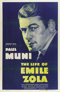 """The Life of Emile Zola (Warner Brothers, 1937). One Sheet (27"""" X 41""""). Emile Zola, as played here by Paul Muni..."""