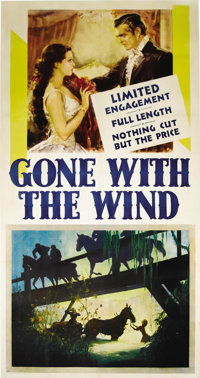 """Gone With the Wind (MGM, 1939). Three Sheet (41"""" X 81""""). This adaptation of Margaret MItchell's classic novel..."""