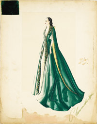 "Gone With the Wind (MGM, 1939) Original Costume Sketch (18"" X 23""). 586 FADE IN: INT. SCARLETT'S BEDROOM - NIG..."
