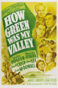 "Movie Posters:Drama, How Green Was My Valley (20th Century Fox, 1941). One Sheet (27"" X41"") Style A. John Ford's sentimental story of a turn-of-..."
