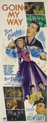"""Going My Way (Paramount, 1944). Insert (14"""" X 36""""). This Best Picture Oscar-winner is about the new parish pri..."""