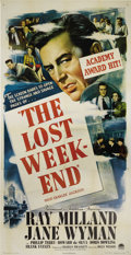 "Movie Posters:Drama, The Lost Weekend (Paramount, 1945). Three Sheet (41"" X 81""). ThisBilly Wilder classic is based upon the novel by Charles R...."