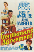 "Movie Posters:Drama, Gentleman's Agreement (20th Century Fox, 1947). One Sheet (27"" X41""). Gregory Peck stars as Philip Green, a journalist who ..."