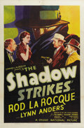 "Movie Posters:Mystery, The Shadow Strikes (Grand National, 1937). One Sheet (27"" X 41"").""Who knows what evil lurks in the hearts of men? The Shado..."