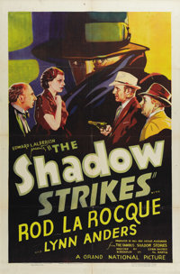 """The Shadow Strikes (Grand National, 1937). One Sheet (27"""" X 41""""). """"Who knows what evil lurks in the heart..."""