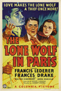 "Movie Posters:Mystery, The Lone Wolf in Paris (Columbia, 1938). One Sheet (27"" X 41"").Francis Lederer stars as Louis Joseph Vance's thief-turned-d..."