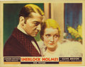 "Movie Posters:Mystery, Sherlock Holmes (Fox, 1932) Lobby Card (11"" X 14""). Beautifulportrait card with Clive Brook as Sherlock Holmes, here posed ..."