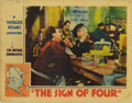 """Movie Posters:Mystery, The Sign of Four (Sono Art-World Wide Pictures, 1932). Lobby Card(11"""" X 14""""). A young woman (Isla Bevan) turns to Sherlock ..."""