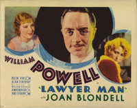 "Lawyer Man (Warner Brothers, 1933). Title Lobby Card (11"" X 14""). William Powell discovers the trappings of su..."