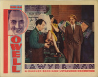 "Lawyer Man (Warner Brothers, 1933). Lobby Cards (2) (11"" X 14""). Pinholes rest in the corners and speckled sta..."