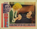 "Movie Posters:Drama, Lawyer Man (Warner Brothers, 1933). Lobby Cards (2) (11"" X 14""). The Joan Blondell / William Powell card has pinholes, a cor... (Total: 2 Items)"