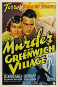 "Movie Posters:Mystery, Murder in Greenwich Village (Columbia, 1937). One Sheet (27"" X41""). Richard Arlen and Fay Wray star in this romantic myster..."