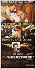 "Movie Posters:Action, Goldfinger (United Artists, 1964). Three Sheet (41"" X 81""). It's upto Bond -- James Bond (Sean Connery) -- to save Fort Kno..."