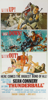 """Thunderball (United Artists, 1965). Three Sheet (41"""" X 81""""). In this fourth installment of the James Bond fran..."""