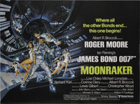 "Moonraker (United Artists, 1979). British Quad (30"" X 40""). Lewis Gilbert directed the Ian Fleming story about..."