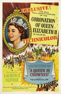 """A Queen is Crowned (Rank, 1953). One Sheet (27"""" X 41""""). On June 2, 1953, the coronation of the 27-year-old Que..."""