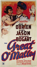 "Movie Posters:Crime, The Great O'Malley (Warner Brothers, 1937). Three Sheet (41"" X81""). Pat O'Brien stars as the title character, Jimmy O'Malle..."