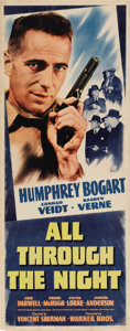 "Movie Posters:Action, All Through the Night (Warner Brothers, 1942). Insert (14"" X 36"").Humphrey Bogart stars in one of the few comedies he made ..."