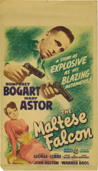 "The Maltese Falcon (Warner Brothers, 1941). Midget Window Card (8"" X 14""). Humphrey Bogart, finally became a t..."