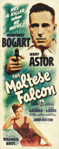 "Movie Posters:Crime, The Maltese Falcon (Warner Brothers, 1941). Insert (14"" X 36"").John Huston's adaptation of Dashiell Hammett's novel helped ..."