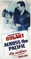 "Movie Posters:War, Across the Pacific (Warner Brothers, 1942). Three Sheet (41"" X81""). This war-time film from Warner's found Humphrey Bogart ..."