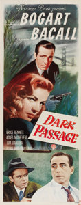"Movie Posters:Film Noir, Dark Passage (Warner Brothers, 1947). Insert (14"" X 36""). HumphreyBogart and Lauren Bacall were cast together in this unusu..."
