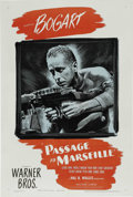 """Movie Posters:War, Passage to Marseille (Warner Brothers, 1944). One Sheet (27"""" X41""""). Striking image of Bogart with a machine gun highlights ..."""