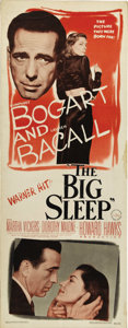 "Movie Posters:Film Noir, The Big Sleep (Warner Brothers, 1946). Insert (14"" X 36"").HumphreyBogart and Lauren Bacall made international headlines wit..."