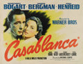 "Movie Posters:Film Noir, Casablanca (Warner Brothers, 1942). Half Sheet (22"" X 28""). StyleA. During the WW II years, Warner Brothers would produce t..."