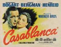 "Casablanca (Warner Brothers, 1942). Half Sheet (22"" X 28""). Style A. During the WW II years, Warner Brothers w..."