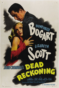 "Dead Reckoning (Columbia, 1947). One Sheet (27"" X 41"") Style B. Humphrey Bogart stars in this film noir as a s..."