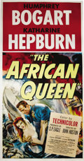 "Movie Posters:Adventure, The African Queen (United Artists, 1952). Three Sheet (41"" X 81"").Katharine Hepburn and Humphrey Bogart star in this classi..."