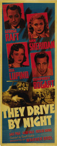"Movie Posters:Drama, They Drive By Night (Warner Brothers, 1940). Insert (14"" X 36"").Humphrey Bogart and George Raft play two truckers, who form..."