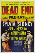 """Movie Posters:Crime, Dead End (United Artists, 1937). One Sheet (27"""" X 41""""). this film,starring Sylvia Sidney, Joel McCrea and Humphrey Bogart, ..."""