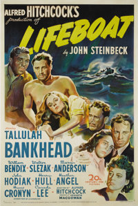 "Lifeboat (20th Century Fox, 1944). One Sheet (27"" X 41""). Alfred Hitchcock directed this drama based on John S..."