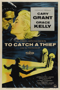 "To Catch a Thief (Paramount 1955). One Sheet (27"" X 41""). Cary Grant portrays a retired cat burglar who falls..."