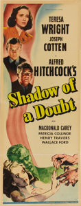 "Movie Posters:Mystery, Shadow of a Doubt (Universal, 1943). Insert (14"" X 36""). AlfredHitchcock's look at what happens to a young girl when she su..."