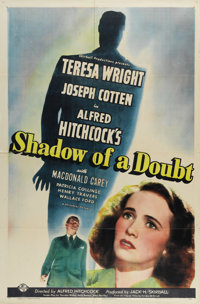 """Shadow of a Doubt (Universal, 1943). One Sheet (27"""" X 41""""). This folded one sheet has some holes at crease poi..."""