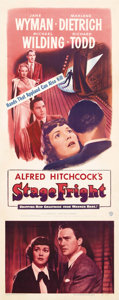 "Movie Posters:Drama, Stage Fright (Warner Brothers, 1950). Insert (14"" X 36""). By 1950,Alfred Hitchcock had built a reputation for making films ..."