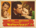 "Movie Posters:Hitchcock, Notorious (RKO, 1946). Lobby Card (11"" X 14""). This gorgeousportrait card of Cary Grant and Ingrid Bergman has slight creas..."