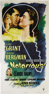"""Notorious (RKO, 1946). Three Sheet (41"""" X 81""""). Alfred Hitchcock was considered the master of suspense for goo..."""
