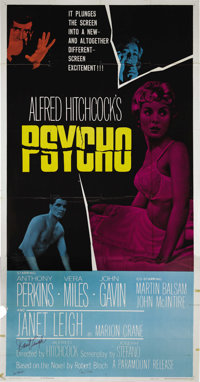 "Psycho (Paramount, 1960). Three Sheet (41"" X 81""). This folded three sheet has some chips and tape around the..."