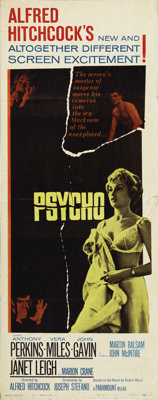 "Psycho (Paramount, 1960). Insert (14"" X 36""). Classic Alfred Hitchcock thriller starring Janet Leigh, Vera Mil..."