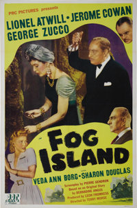 "Fog Island (PRC, 1945). One Sheet (27"" X 41""). George Zucco and Lionel Atwill star in this horror thriller set..."