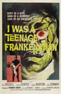 "Movie Posters:Horror, I Was a Teenage Frankenstein (American International, 1957). OneSheet (27"" X 41""). Follow-up film to ""I Was A Teenage Werew..."