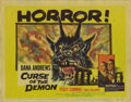 "Movie Posters:Horror, Curse of the Demon (Columbia, 1957). Title Lobby Card (11"" X 14""). Released in England as ""Night of the Demon"", this chiller..."