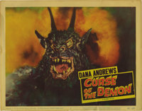 "Curse of the Demon (Columbia, 1957). Lobby Card (11"" X 14""). This card is one of the best horror cards of the..."
